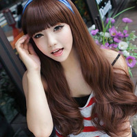 Womens Fashion Lolita Long Wavy Bangs Full Wig Wigs Free Shipping 3 Colors