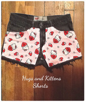 Hello Kitty Pink and Grey Jean Shorts with Hearts. Great for Valentine's Day Kids 16 or women's 2