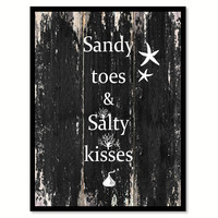 Sandy toes & salty kisses Motivational Quote Saying Canvas Print with Picture Frame Home Decor Wall Art