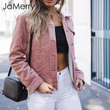 JaMerry Fashion winter wool women jacket coat Lambs casual corduroy coats female Warm turn down collar winter thick coat 2018