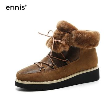 ENNIS 2017 Women Platform Winter Snow Boots Lace Up Warm Fur Flat Shoes New Designer Ankle Booties Fashion Casual Boots A7274