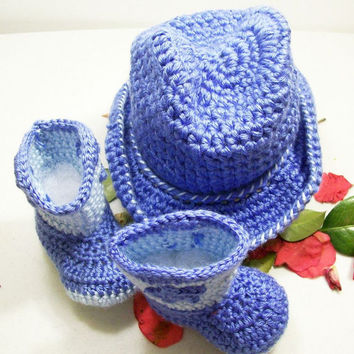 Baby Boy Cowboy Set--Western Hat and Boots -Gift Set---Baby Shower Gift