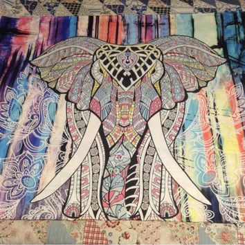 CAMMITEVR Hippie Indian Tapestry Elephant Mandala Throw Wall Hanging Gypsy Bedspread Living Room Sheet Coverlet Picnic Blanket