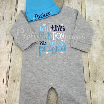 Newborn Baby Romper Outfit -- Grey Infant Boy Romper -- For This Little Boy I or We Have Prayed - Baby Shower Gift -Personalized Hat
