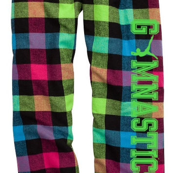 Gymnastics Neon Plaid Lounge Flannel Pant with Pockets