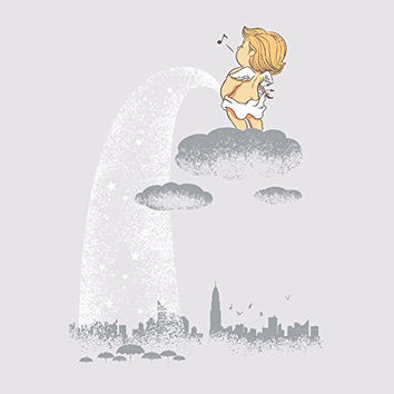 'Rainy Day' Funny Baby Angel Pee on City 18x18 - Vinyl Print Poster
