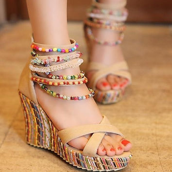 Sweet Bohemian Style Women Colorful Beads String Zipper Wedge Sandals Fashion Casual Lady Beach Shoes [7653473926]