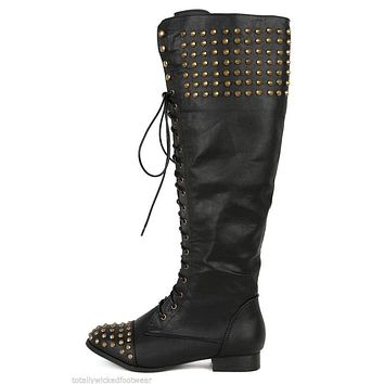 Jillian 2 Black Leatherette Spike Stud Lace Up Combat Riding Knee Boot Size 7