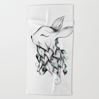 Poetic Rabbit Beach Towel by LouJah