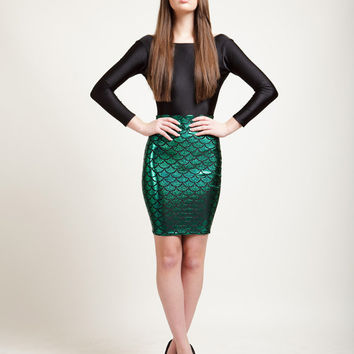 Ariel Green Mermaid Bodycon Pencil Skirt in Metallic Holographic Sparkles