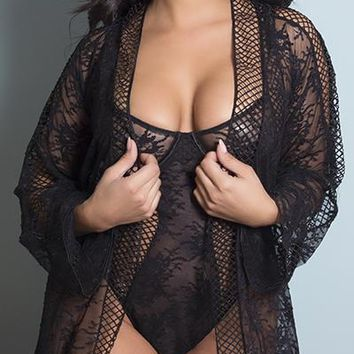 Sexy Plus Size Salty Floral Lace and Lattice Trim Robe