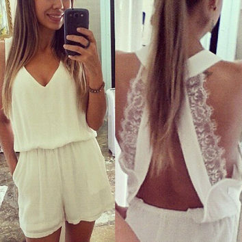 White V-Neck Romper With Lace Straps