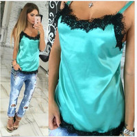 Newly 2017 Fashion Sexy Women Solid Camis Summer Casual Lace Patchwork Vest Top Sleeveless Tank Tops T-Shirt 4 Colors Tops GV554