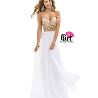 (PRE-ORDER) Flirt by Maggie Sottero 2014 Prom Dresses - Rose Gold & White Beaded Sweetheart Chiffon Sheath Dress