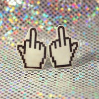 Middle Finger Cursor Stud Earrings