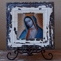 Vintage Ceiling Tile Frame Our Lady of Guadalupe by Carouselarts
