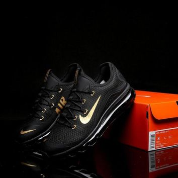 New Arrivel Nike Air Max 2017 Black Gold Men's Footwear Running Shoes Sneakers