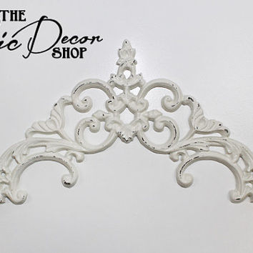 Applique Swag, Cast Iron, White Distressed, Door Entry Scroll, Outdoor decor