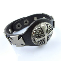 Fashion Punk  Adjustable Leather Wristband Cuff Bracelet - Great for Men, Women, Teens, Boys, Girls 2729s