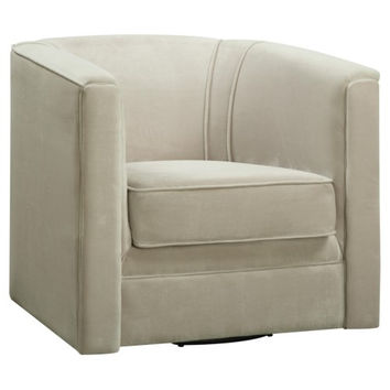 Accent Seating Swivel Chair in Tan Velvet Fabric