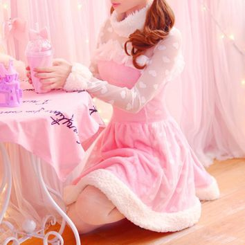 Princess sweet lolita dress Autumn sweet Japanese Princess breeze lovely plush velvet stitching lace long sleeved dress KMY237