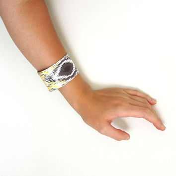 Cuff Bracelet IKat Yellow Gray Womens Accessories
