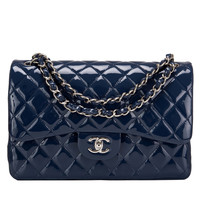 Chanel Navy Quilted Patent Jumbo Classic Double Flap Bag