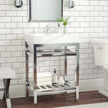 "23.5"" Chrome Single Console Vanity Set - Stone Sink Top - Open Bottom Vanity"