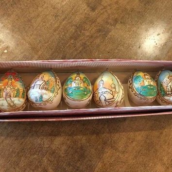 Set of 6 - Russian Wooden Hand Painted Egg Shape Church Scenery Ornaments EUC
