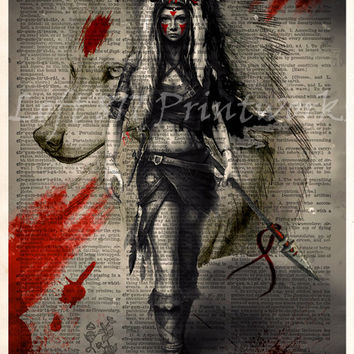 Princess Mononoke poster - Anime pop art - Mononoke splatter art print - Dictionary print art
