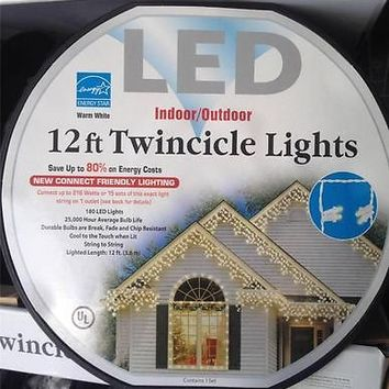 Everstar 12 ft Spool LED Twincicle Icicle 180 Lights Warm White NEW FREE SHIP