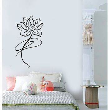 Vinyl Wall Decal Abstract Lotus Flower Buddhism Stickers (3651ig)