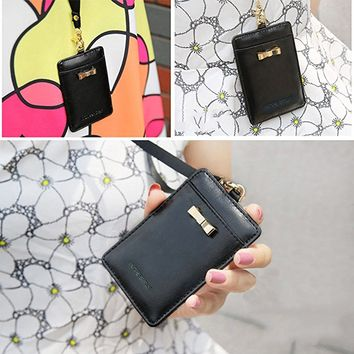 Cute Black 2-sided Vertical Genuine Leather ID Badge Holder with Lanyard