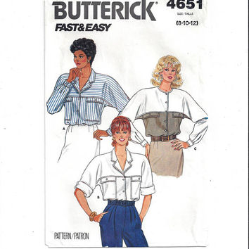 Butterick 4651 Pattern for Misses' Blouse, From 1987, Size 8-10-12, FACTORY FOLDED & UNCUT, Vintage Pattern, Home Sew Pattern, Fast and Easy