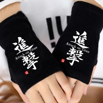Cool Attack on Titan Anime  Unisex Cosplay Half Finger Gloves Cotton Mitten costume gloves AT_90_11