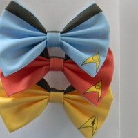 Star Trek Inspired Classic Hair Bow or Clip On Bow Tie