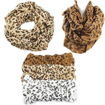 Leopard Print Lightweight Infinity Cowl Circle Ring Loop Tube Scarf