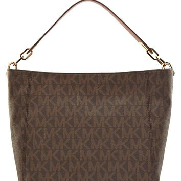 Michael Kors Fulton Medium Slouchy Shoulder Bag in Brown PVC