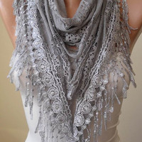 Gray Lace Scarf - Gray Laced and Soft Scarf with Gray Trim Edge  - Triangular
