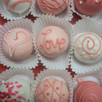 Red Velvet Truffle cake balls 12 hand Made Decadent White Chocolate truffle balls Valentine gift Wedding Favor