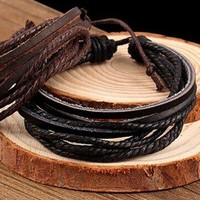 Black or Brown Multi Layered Leather Braclet