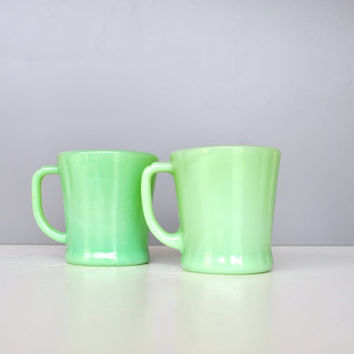 Vintage Jadeite Mug Set - Anchor Hocking Fire King Oven Ware D Handle Mugs