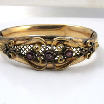 Victorian Amethyst Glass Bangle Bracelet, Antique Gold Amethyst Glass Jewelry, MH Co. Jewelry, Antique Amethyst Glass Hinged Bangle Bracelet
