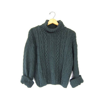 Shop Cropped Cable Knit Sweater on Wanelo