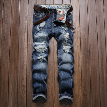 Men Fashion Men's Fashion Ripped Holes Jeans [9892501379]