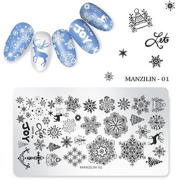 1pc Christmas Nail Art Stamping Plates Snowflake Deer Snowman Tree Bell Santa Claus Present Manicure Polish Transfer Stencil New