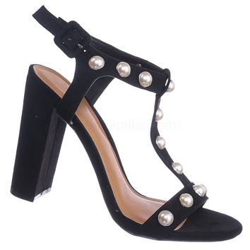 Morris88 Pearl T-Strap Sandal - Women Chunky Block High Heel Dress Shoes
