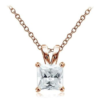 Rose Gold Tone over 925 Silver 4ct Cubic Zirconia 9mm Square Solitaire Necklace