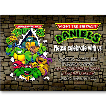 Teenage Ninja Turtles Invitation Kids Birthday Invitation Party Design