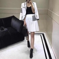 """Chanel"" Women Fashion Multicolor Stripe Cardigan Long Sleeve Suit Coat Ruffle Skirt Set Two-Piece"